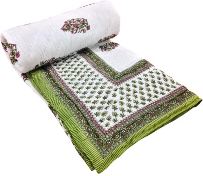Shop Rajasthan Floral Double Quilts & Comforters Green, White
