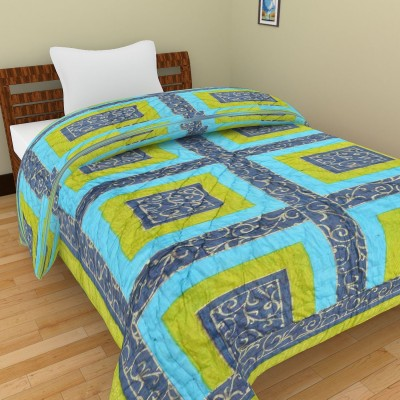 Shra Geometric Single Quilts & Comforters Blue, Green