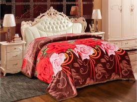 Signature Floral Double Blanket Brown(Coral Blanket, Blanket)
