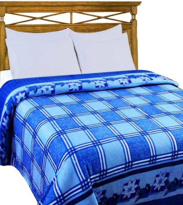 Home Candy Checkered Double Blanket Blue
