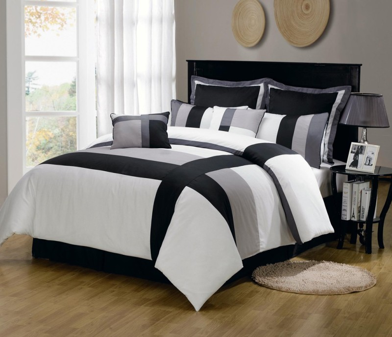 Bella King Cotton Duvet Cover(Grey, White)