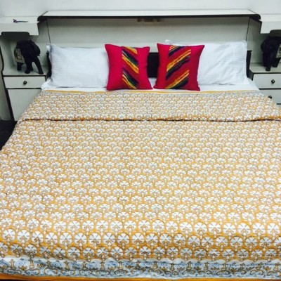 Kairan Jaipur Printed Double Quilts & Comforters Yellow