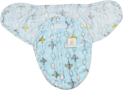 Ole Baby Flying Plane with Clouds on the side Double Side Print Comfortable Swaddle Blanket, Adjustable Infant Wrap With Velcro Closure , Soft Furry 0-6 months Sleeping Bag