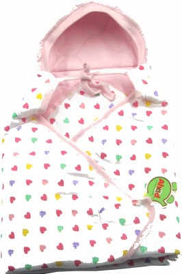 Ahad Printed Single Hooded Baby Blanket Pink