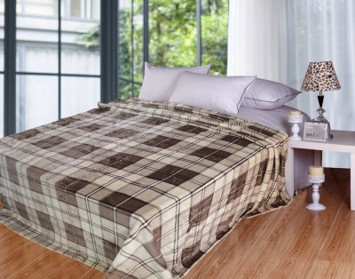 Coverlet Checkered Double Blanket Brown