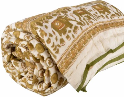 DFR Floral Single Quilts & Comforters Green