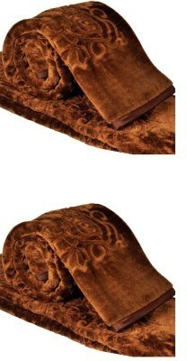 Guru Kirpa Textiles Floral Double Blanket Brown