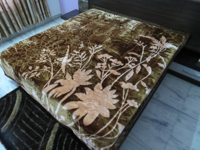 Florida Floral Double Blanket Brown