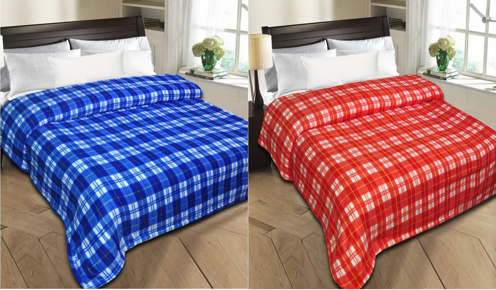 Styletex Checkered Single Blanket Blue, Red(Fleece Blanket, 1 Blue Blanket 1 Red Blanket)