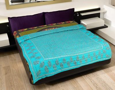 Rajasthan Craft Plaza Floral Double Dohar Blue, Golden, Black
