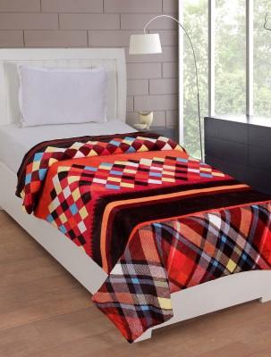 NIRWANA Checkered Single Blanket Multicolor