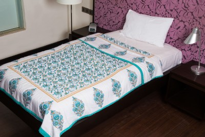 JaipurFabric Floral Single Quilts & Comforters Green