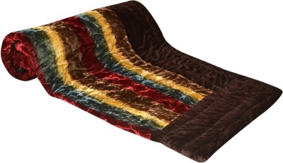 Raj Amer Craft Striped Single Quilts & Comforters Brown
