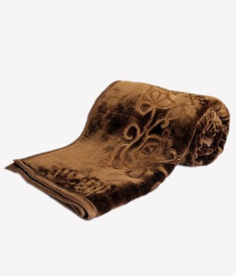 Shree Radhika Synthetics(SRS) Floral Single Blanket Brown