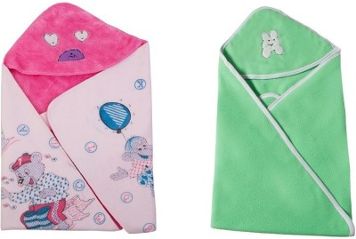 Utc Garments Cartoon, Plain Single Hooded Baby Blanket Light Green, Light Pink, White