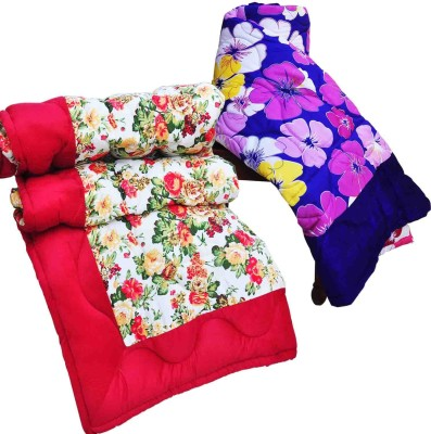 Artisan Creation Floral Single Quilts & Comforters Red, Blue