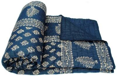 DLS Floral King Blanket Blue