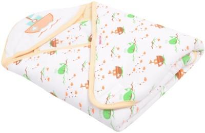 Kinder And Tender Printed Single Hooded Baby Blanket Orange, White