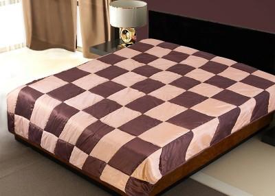 Zikrak Exim Checkered Single Quilts & Comforters Brown & Beige