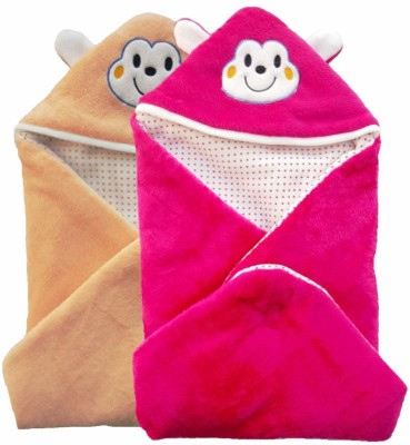 Brandonn Abstract Single Hooded Baby Blanket Peach, Pink