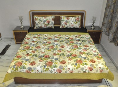 Lal Haveli Floral Double Blanket Beige