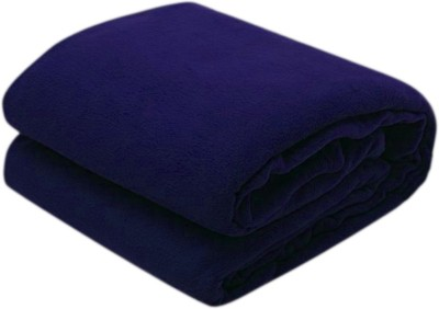 Excel Bazaar Plain Double Blanket Blue