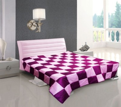 Shine Villa Checkered Single Quilts & Comforters Purple