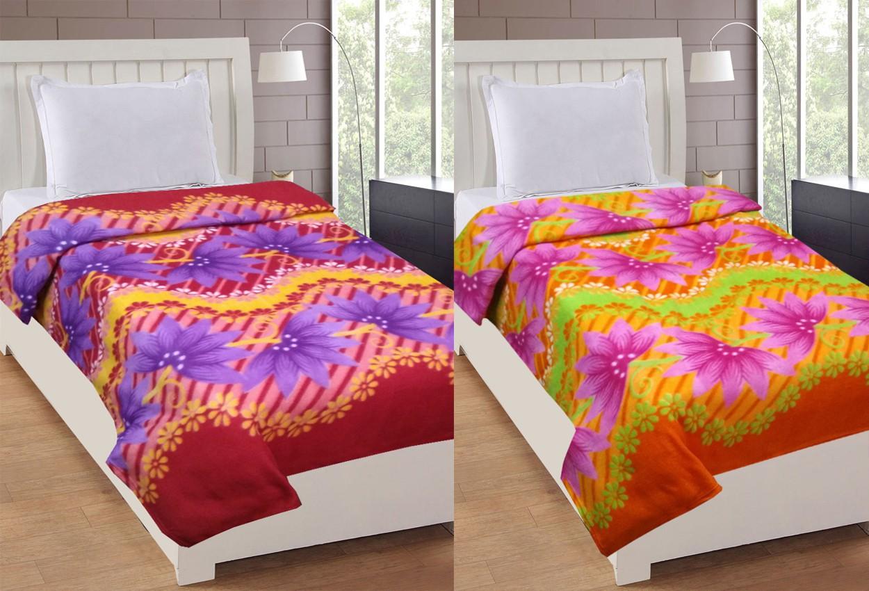 La Realeza Floral Single Blanket Maroon(Fleece Blanket, 2 Blanket)