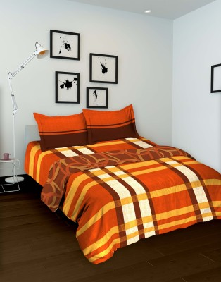 Tomatillo Striped Double Quilts & Comforters Orange, Yellow