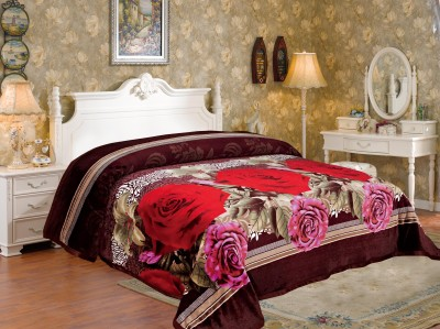 Signature Floral Double Blanket Red