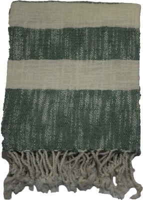 Belle Maison Striped Single Throw Green