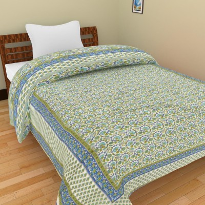 Shra Floral Single Quilts & Comforters Green, Blue