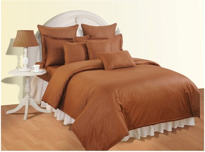 Swayam Striped Double Quilts & Comforters Brown