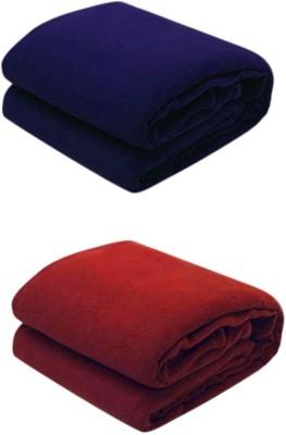 Jazz Plain Single Blanket Blue, Red