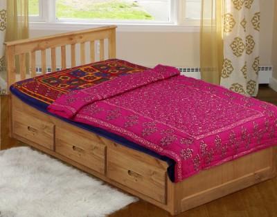 Rajasthan Craft Plaza Floral Single Dohar Pink, Golden