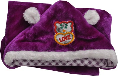 Silver Stone Checkered Single Hooded Baby Blanket Purple