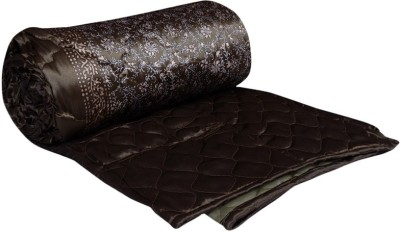 OM PRINTS Self Design Double Quilts & Comforters Brown