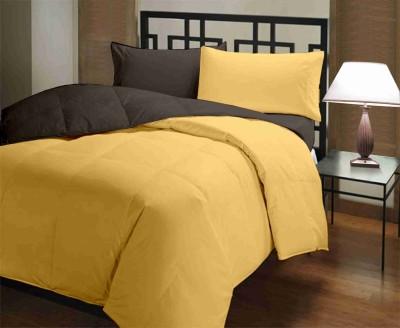 Featherlite Plain Single Duvet Brown, Yellow