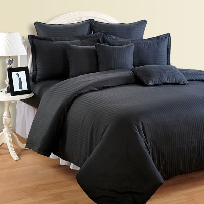 Swayam Striped Double Quilts & Comforters Black