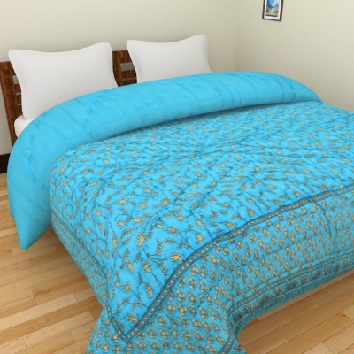 Shra Floral Double Quilts & Comforters Light Blue