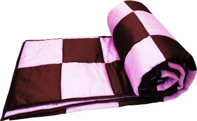 Zikrak Exim Checkered Queen Quilts & Comforters Pink, Brown