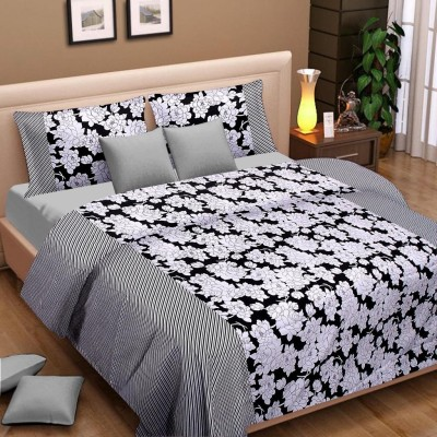 Cortina Floral Double Dohar Black, White