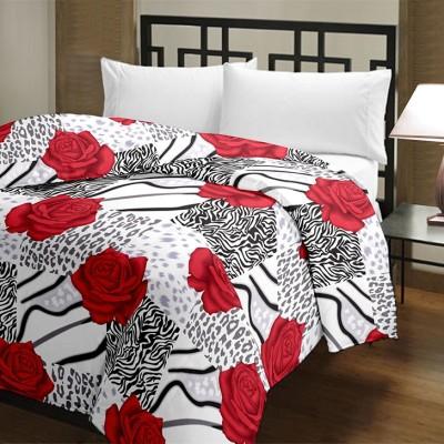 Blanket Zone Floral Single Dohar Red, White