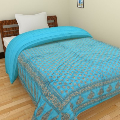 Spangle Floral Single Quilts & Comforters Sky Blue