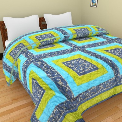 Shra Geometric Double Quilts & Comforters Blue, Green