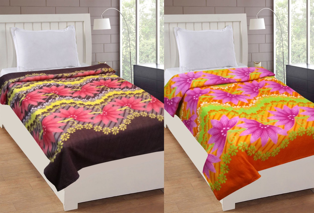 La Realeza Floral Single Blanket Brown(Fleece Blanket, 2 Blanket)