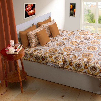 House This Damask Double Quilts & Comforters Orange, Beige