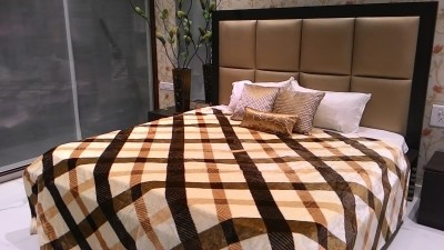 Tima Checkered Double Blanket Brown