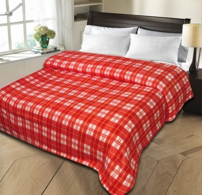 Shopgalore Checkered Single Blanket Red