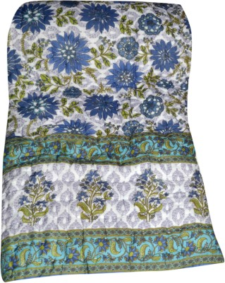 Raj Amer Craft Floral Double Quilts & Comforters Blue